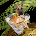 great dane dog art and martini dogs, great dane dog pop art, dog paintings, party dogs and martini pet portraits in colorful original great dane dog art and fine art dog prints by artists Jane Billman and Gregg Billman