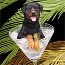 rottweiler dog art and martini dogs, rottweiler dog pop art, dog paintings, party dogs and martini pet portraits in colorful original rottweiler dog art and fine art rottweiler dog prints by artists Jane Billman and Gregg Billman